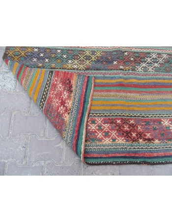 Vintage Embroidered Turkish Kelim Rug