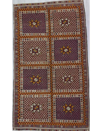 Large Vintage Embroidered Turkish Kilim Rug