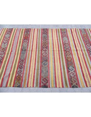 Striped Vintage Embroidered Turkish Kilim Rug