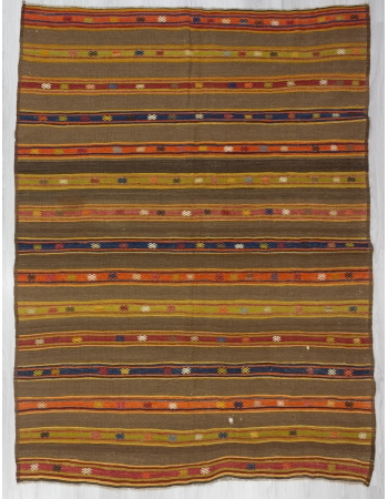 Striped Vintage Turkish Embroidered Kilim