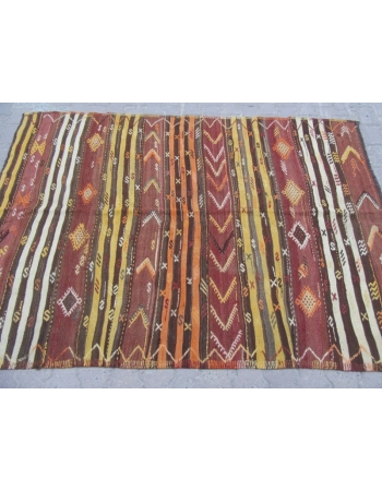 Striped Vintage Embroidered Turkish Kilim Rug