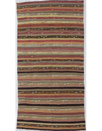 Striped / Embroidered Vintage Turkish Kelim Rug