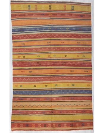 Vintage Embroidered / Striped Kilim Rug