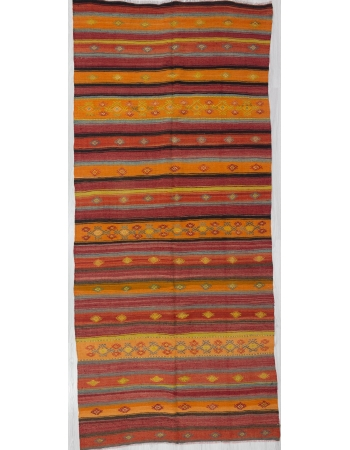 Vintage Red / Orange Striped Kilim Rug