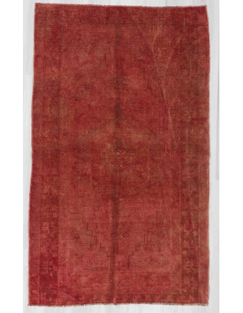 Vintage Red Overdyed Turkish Carpet