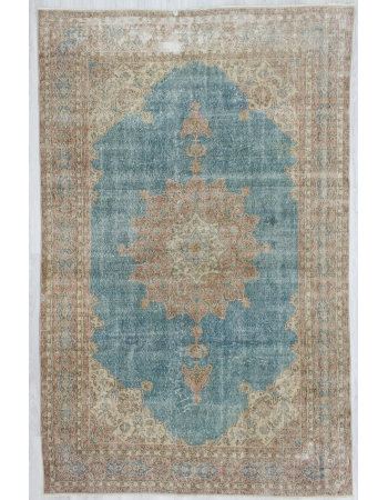 Vintage Blue Ground Oushak Rug