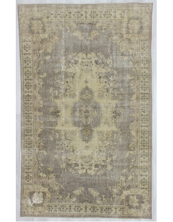Distressed Washed Out Turkish Oushak Rug