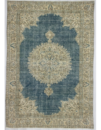Washed Out Medallion Designed Oushak Rug