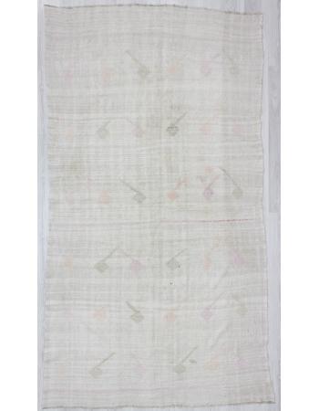 Vintage Embroidered Turkish Hemp Kilim Rug