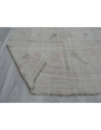 Vintage Embroidered Turkish Hemp Kilim Rug