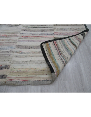 Large Striped Vintage Turkish Rag Rug
