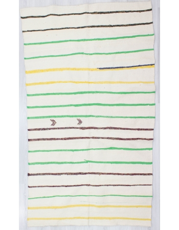 Vintage Yellow / Green Striped Cotton Kilim Rug