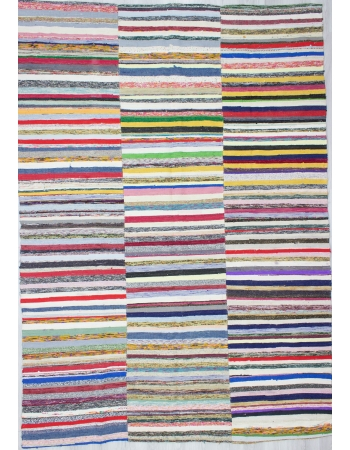 Large Vintage Vibrant Striped Turkish Rag Rug