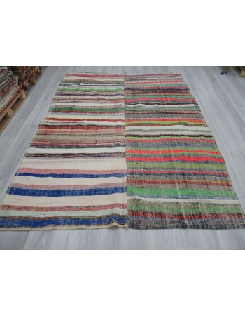 Colorful Striped Vintage Rag Rug