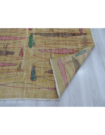 Vintage Yellow Turkish Art Deco Rug