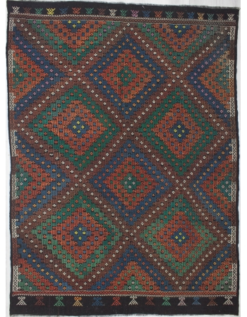 Large Vintage Embroidered Kilim Rug
