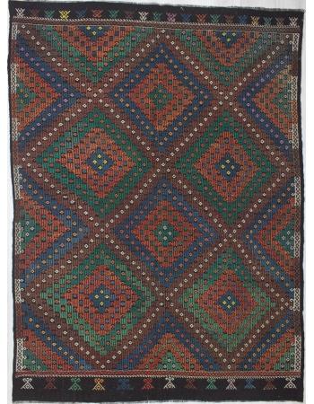 Large Vintage Embroidered Kilim Rug