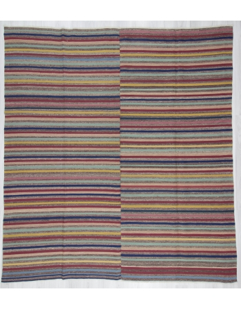Vintage Colorful Striped Turkish Kilim Rug