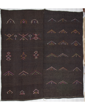 Embroidered Vintage Dark Brown Goat Hair Kilim Rug