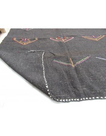 Embroidered Vintage Dark Brown Goat Hair Kilim Rug