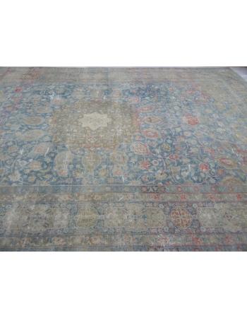 Oversized Antique Distressed Persian Tabriz Rug
