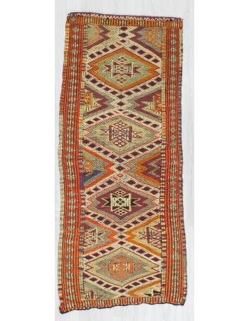 Vintage Embroidered Small Kilim Rug