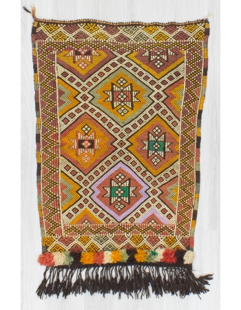 Decorative Small Vintage Embroidered Kilim