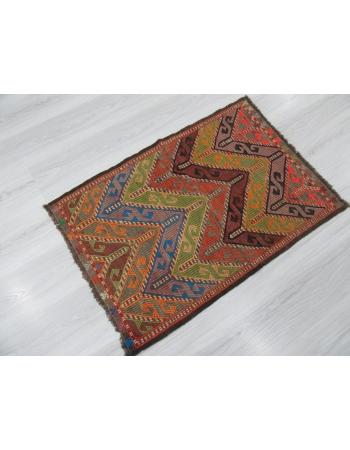 Decorative Small Vintage Embroidered Kilim