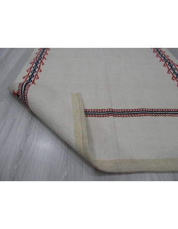 Vintage Embroidered Decorative Cotton Kilim Rug