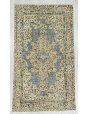 Distressed Vintage Turkish Oushak Rug