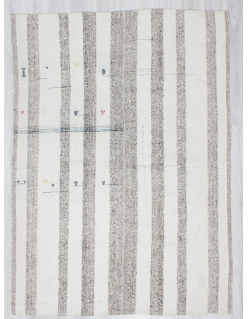 Vintage Gray White Striped Kilim Rug