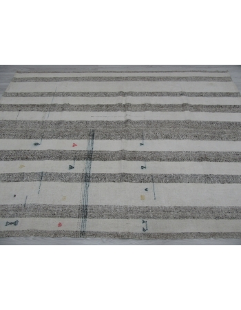 Vintage Gray White Striped Kilim Rug