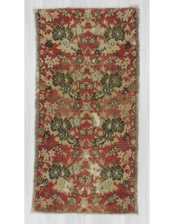 Vintage Distressed Small Floral Turkish Rug