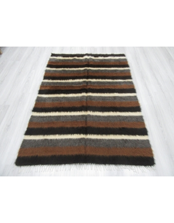 Decorative Brown White Black Striped Blanket Kilim Rug