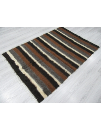 Decorative Brown White Black Striped Blanket Kilim Rug