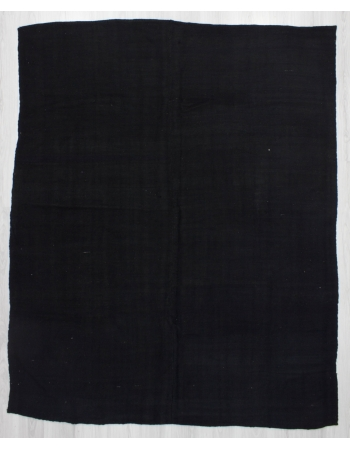 Vintage Black Re-Dyed Wool Kilim Rug