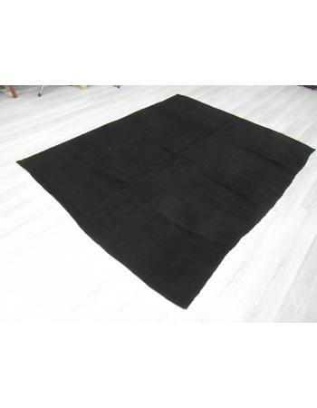Vintage Black Re-Dyed Wool Kilim Rug