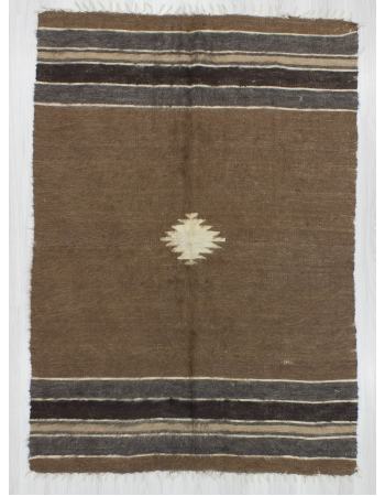 Vintage Decorative Brown Turkish Blanket Kilim Rug