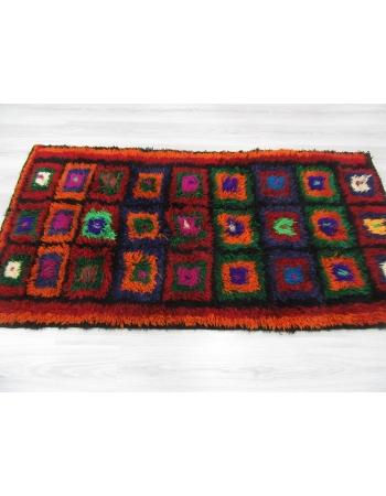 Colorful Vintage Turkish Shaggy Tulu Rug