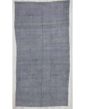 Vintage Gray Overdyed Turkish Hemp Kilim Rug