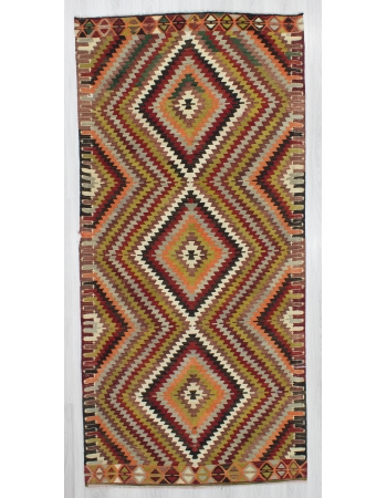 Vintage Colorful ZigZag Designed Turkish Kilim Rug