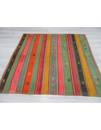 Striped Vintage Colorful Kilim Rug