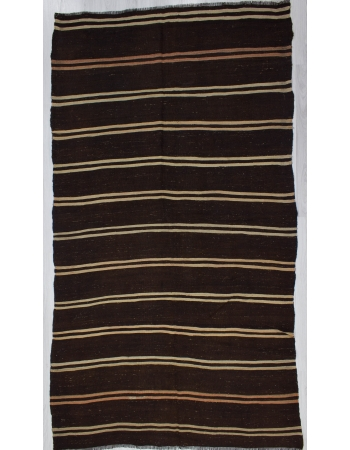 Striped Vintage Dark Brown Kilim Rug