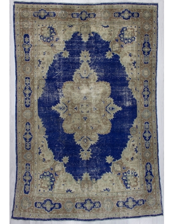 Navy Blue / Beige Vintage Distressed Oushak Rug