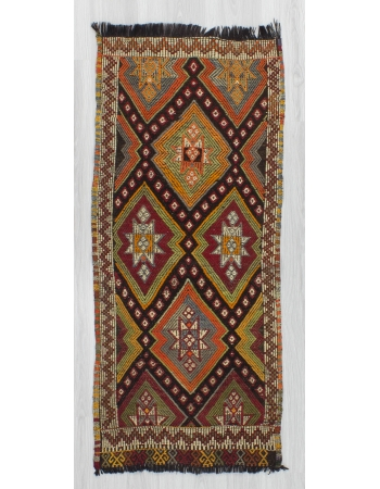 Vintage Small Embroidered Turkish Kilim Rug