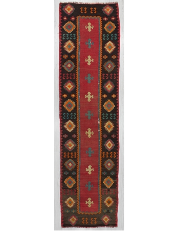 Vintage Decorative Turkish Kilim Runner Rug
