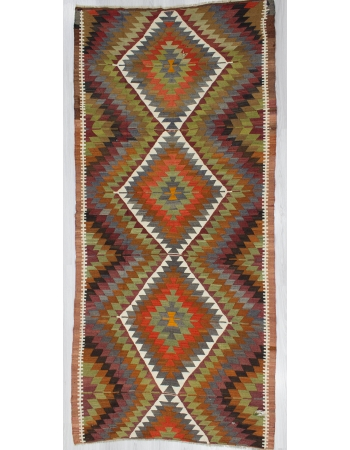 Handwoven Vintage ZigZag Turkish Kilim Rug