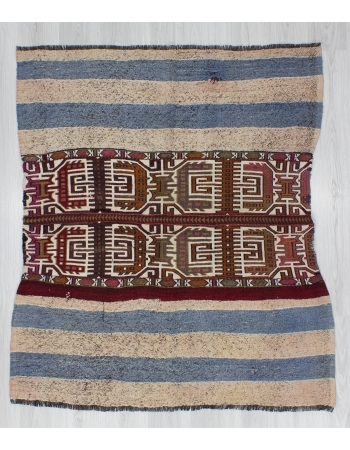 Decorative Small Embroidered Turkish Kilim Rug