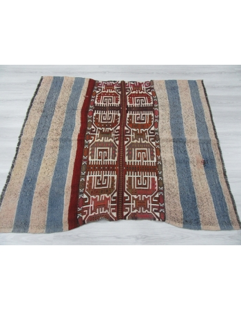 Decorative Small Embroidered Turkish Kilim Rug