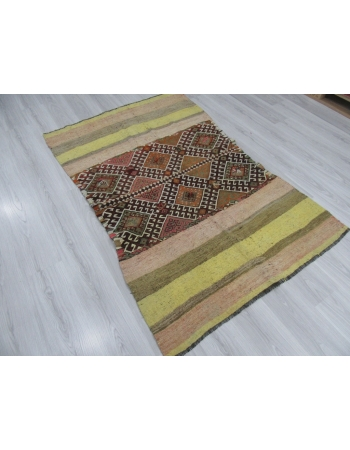 Yellow Striped Vintage Unique Kilim Rug